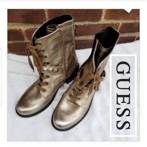 Guess golden combat boots 8.5